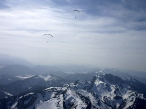 Paragliding on a winter day over the Brauneck