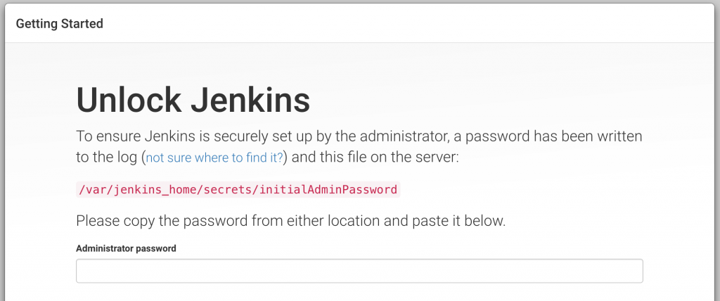 Docker Jenkins first login